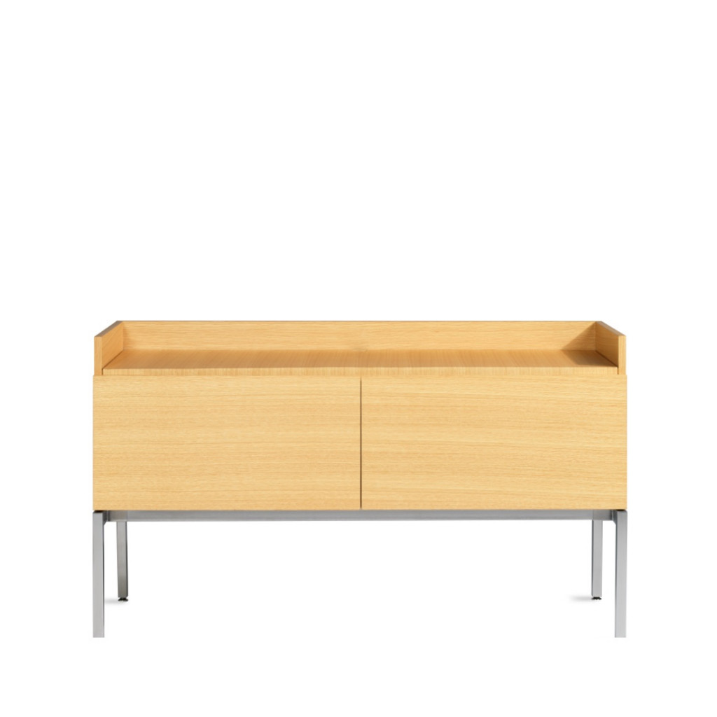 Wooden office storage credenza with sliding doors and short metal legs