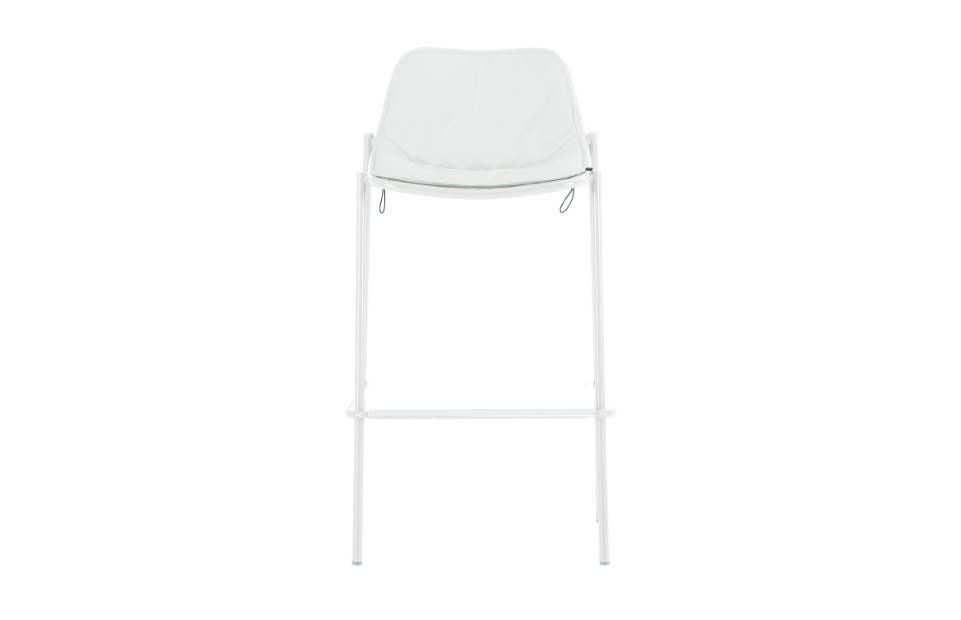 Low-back white upholstered outdoor office stool with tall white metal legs