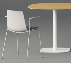 Curved back side chair in office lounge with cafe-height wooden table