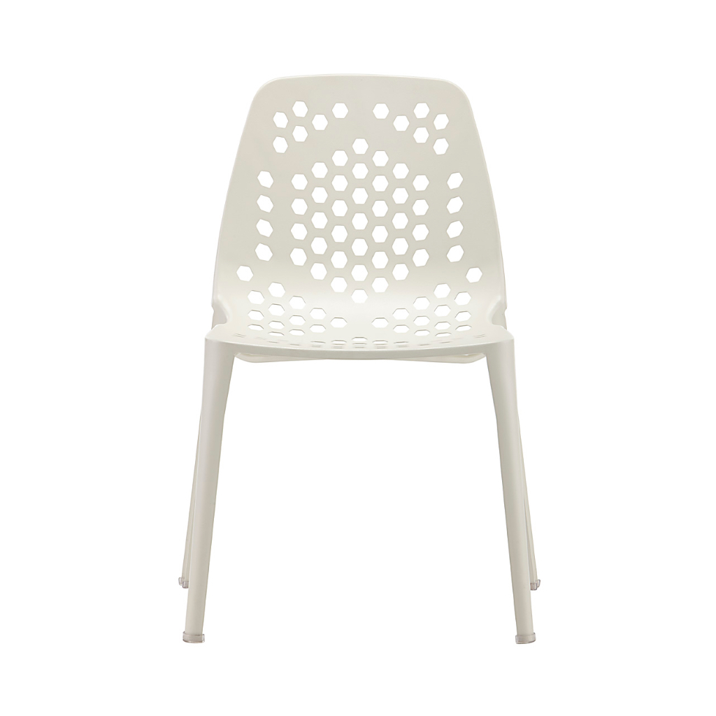 White stackable outdoor chair with patterns of holes in back and seat