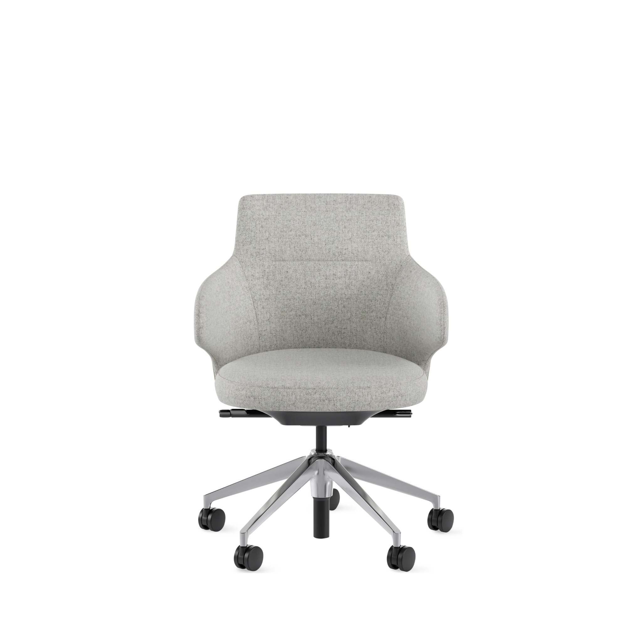 Plush grey conference chair with low armrests, mid-height back, and aluminum base with casters