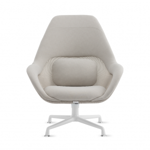 SW_1 lounge chair in off-white upholstery with mesh back and white painted legs