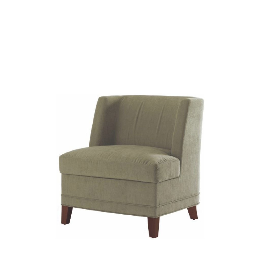 Plush office lounge chair with beige upholstery, dark wood legs, and square winged back