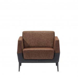 Visalia lounge armchair in dual tone finish with brown textured upholstery and black base
