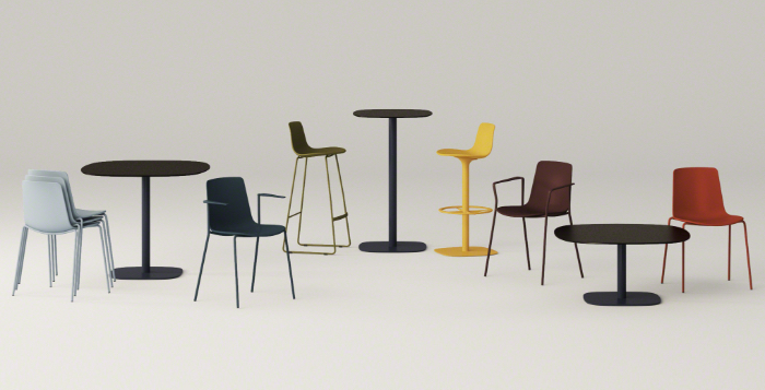 Collection of office chairs of various heights and colors, including low-rise lounge chairs, cafe-height chairs, and lounge stools