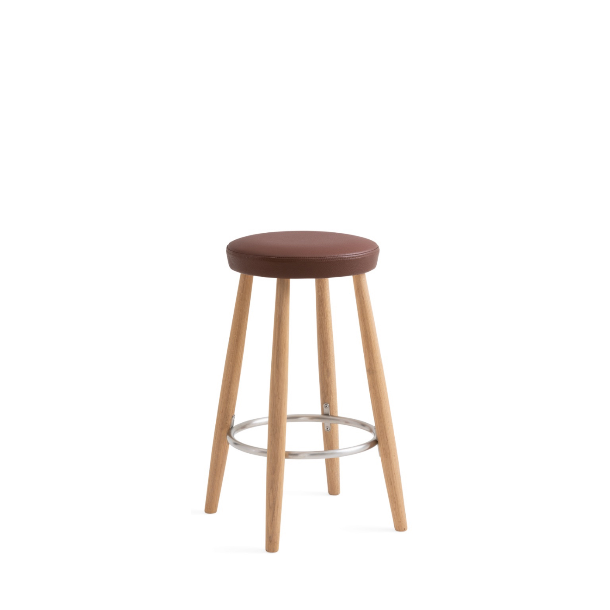 Round top office stool with brown leather upholstery and wooden legs