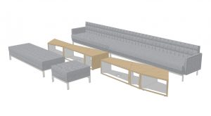 3D design idea for office lounge space with bench seating, long grey couch, and open-design wooden coffee tables