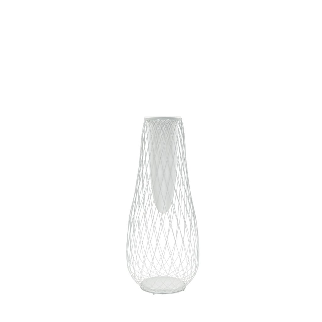 Metal wire outdoor display vase finished in white