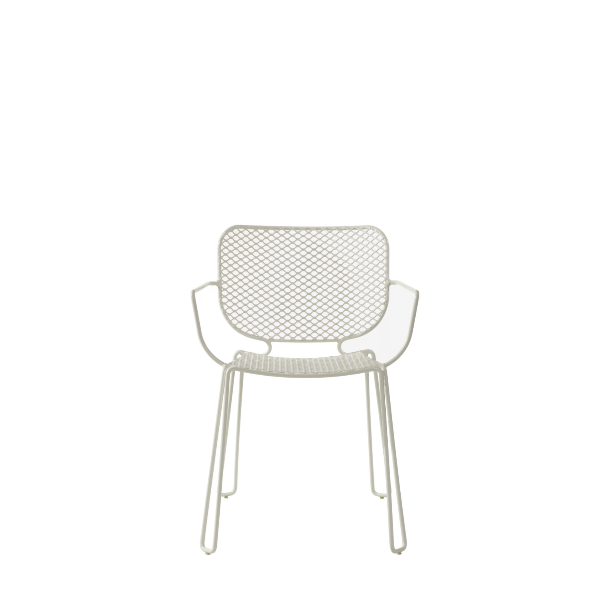 Metal mesh outdoor chair finished in white with matching legs