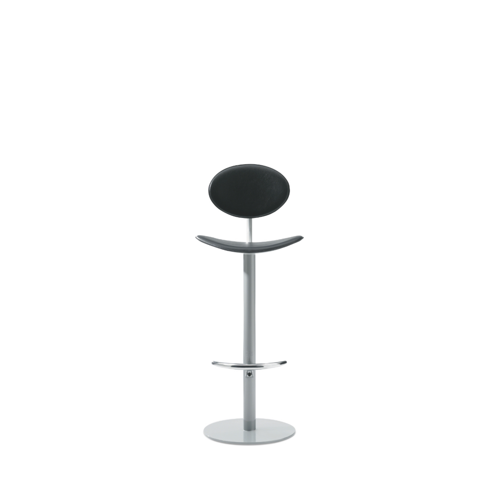 Tall, slender office stool with circular back, matching seat, and adjustable metal base