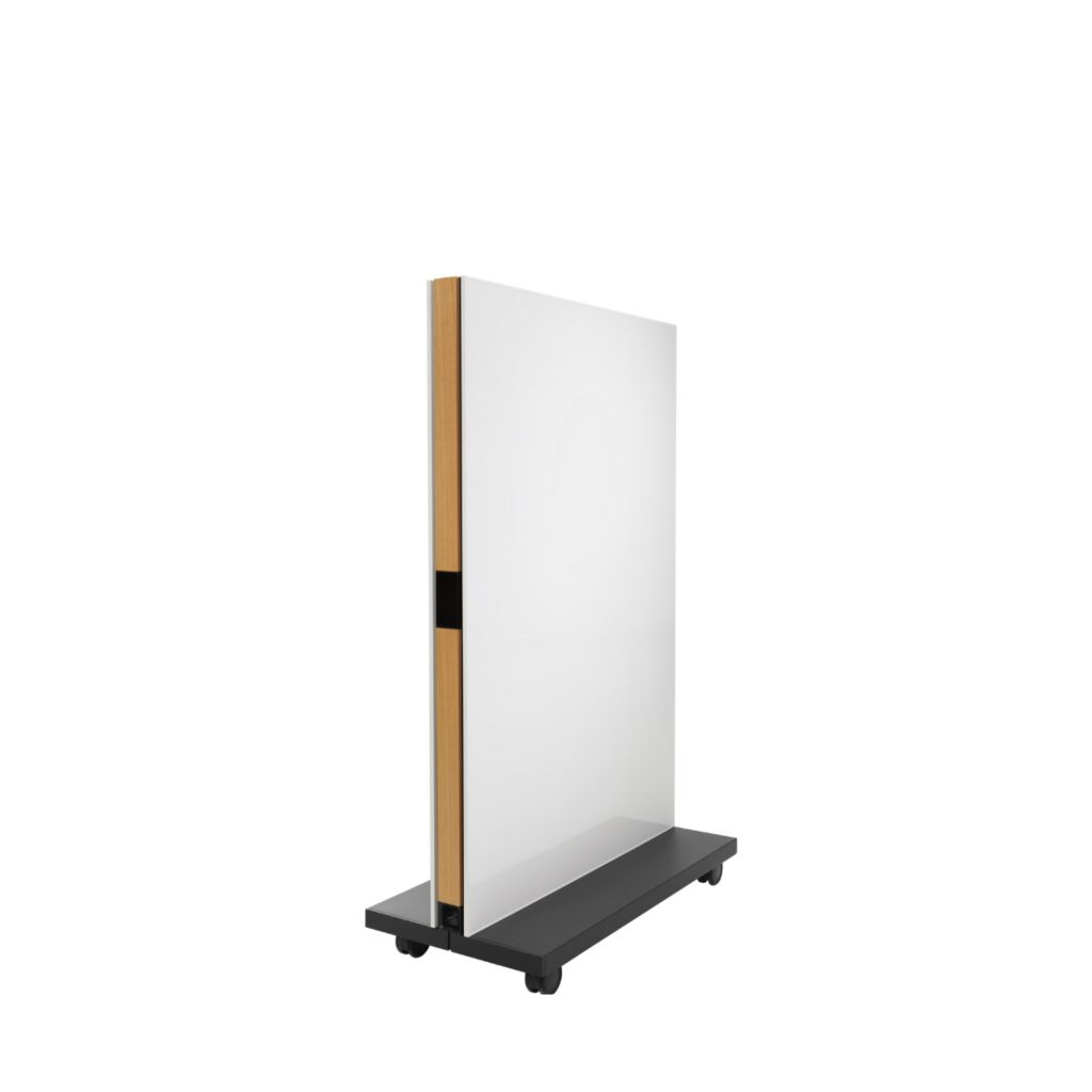 Mobile office whiteboard with wheeled base and wooden core