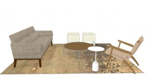 3D rendering of grey couch, wooden lounge chair, round coffee table, white side table, and storage cubes