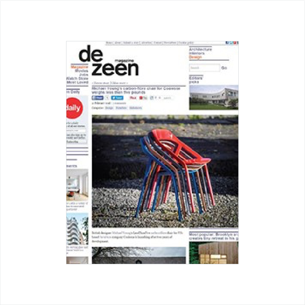 DeZeen Magazine cover with Coalesse LessThanFive chair cover feature