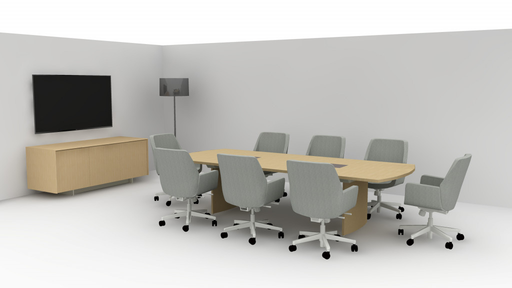 3D layout for office meeting room with long conference table, mid-back office chairs, and wooden storage credenza at front of room