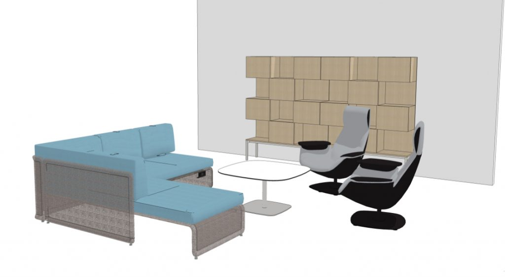 3D renders of office social space layout, featuring blue sectional couch, high-backed lounge chairs, cafe table, and wooden wall installations