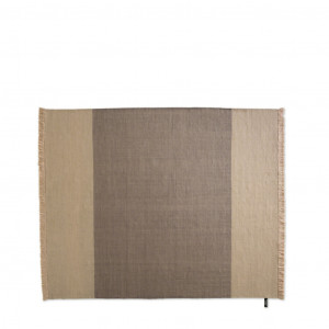 Tan and grey office area rug with matching tan fringe
