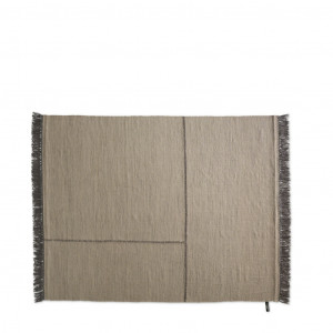 Tan area rug with dark lines in fabric and dark fringe around edges